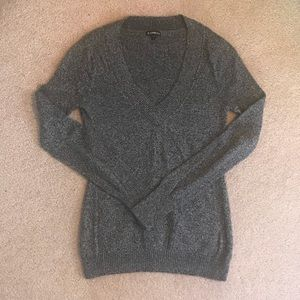 Express Heather gray v-neck large sweater